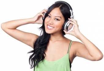 woman enjoying her headphones